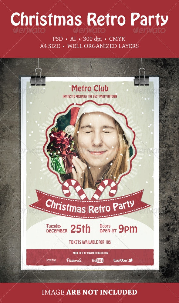 Christmas Retro Party Flyer - Events Flyers