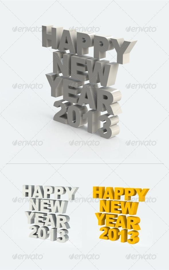Happy New Year 2013 3D - Text 3D Renders