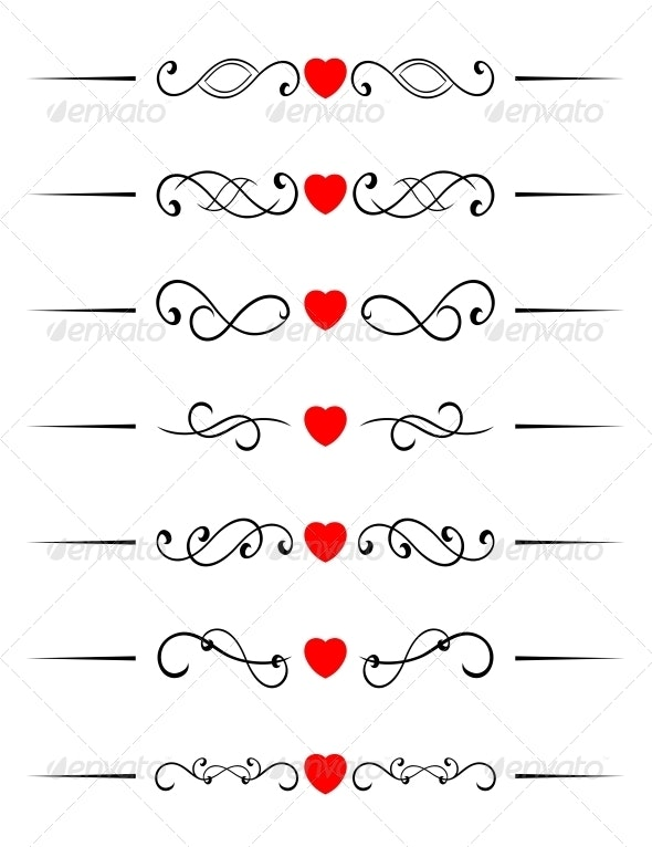Swirl Elements with Hearts - Patterns Decorative