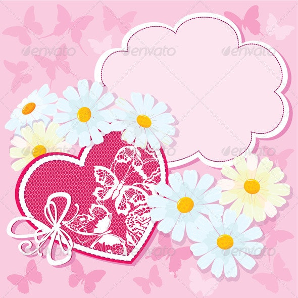 Heart and Daisies on a Pink Background - Valentines Seasons/Holidays