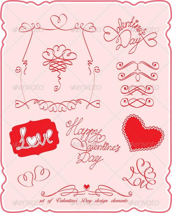 Set of Valentines Day Symbols and Design Elements  - Valentines Seasons/Holidays