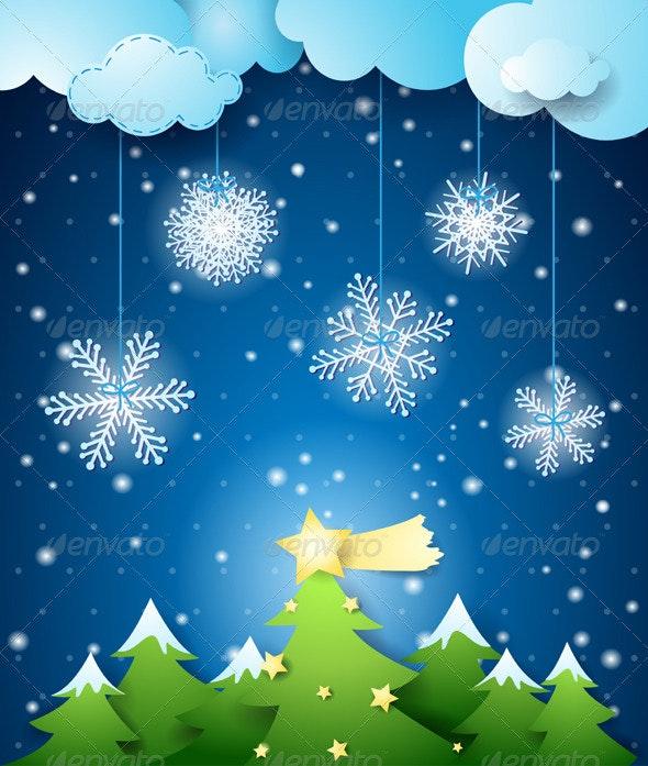 Winter Night and Christmas Tree - Christmas Seasons/Holidays