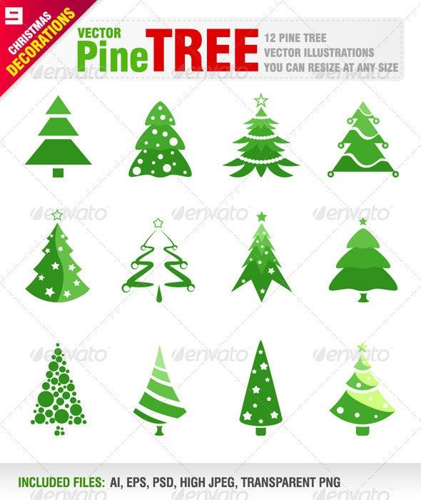 12 Pine Trees - Christmas Seasons/Holidays