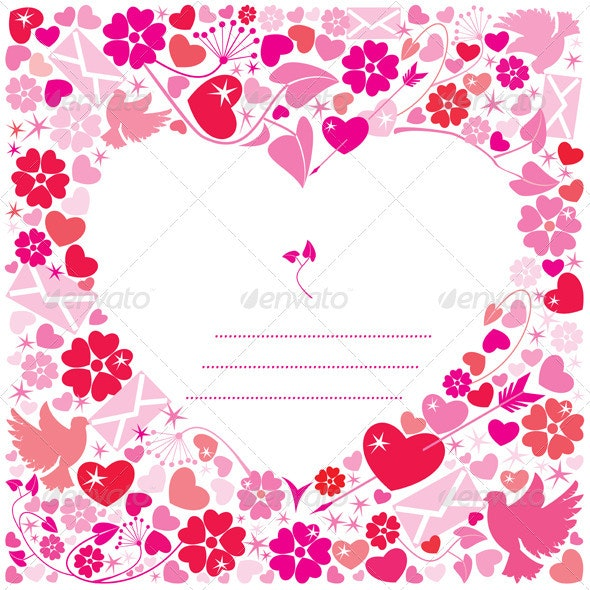 Valentines Day Postcard - White Background Heart - Valentines Seasons/Holidays