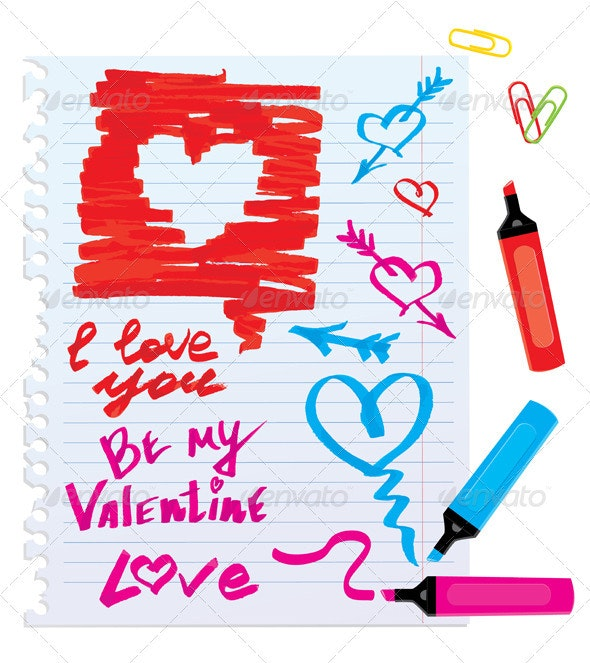 Set of Different Color Markers and Marks  - Valentines Seasons/Holidays