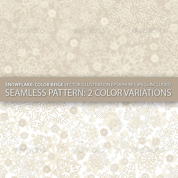 Seamless Snowflakes Pattern (Vector) - Patterns Decorative