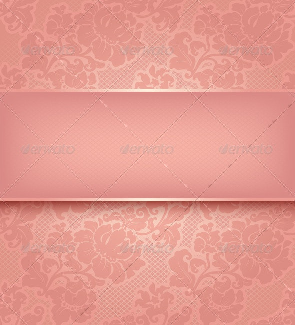 Lace Background, Ornamental Pink Flowers - Backgrounds Decorative