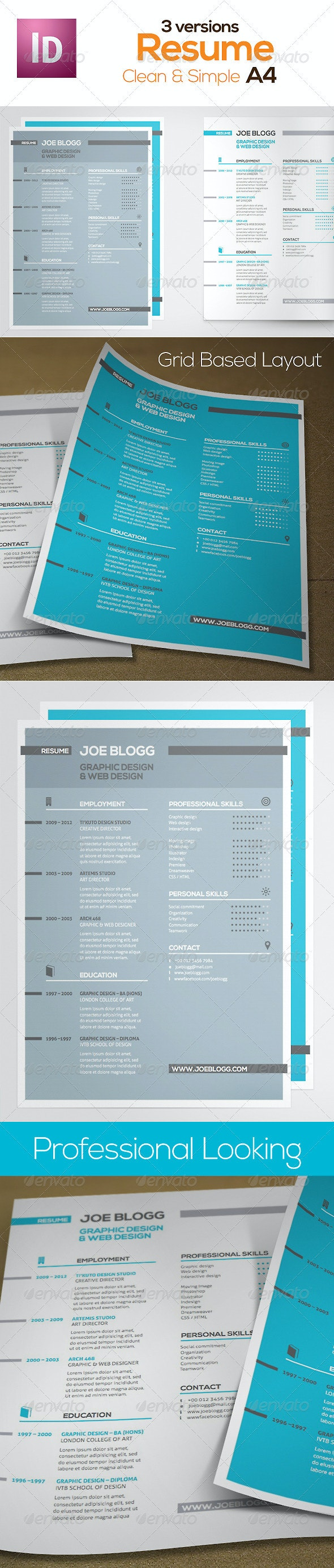 Pro Looking Resume (Swiss Grid) - Resumes Stationery