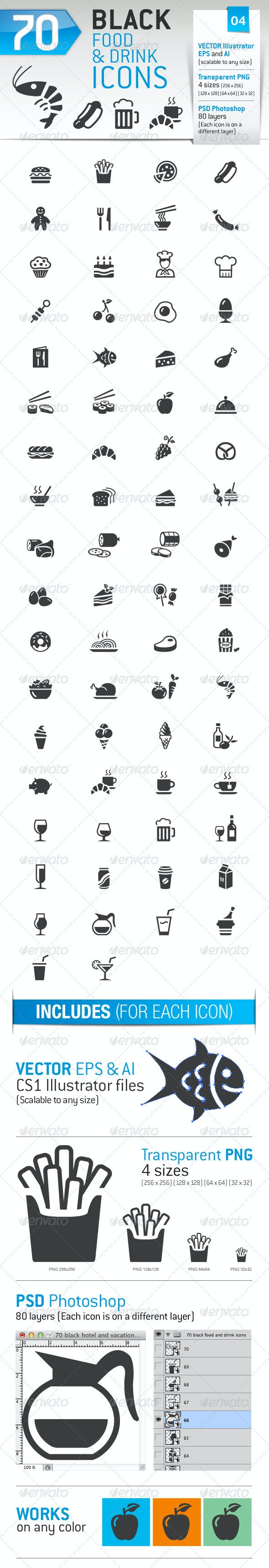 70 Food and Drink Icons - Business Icons