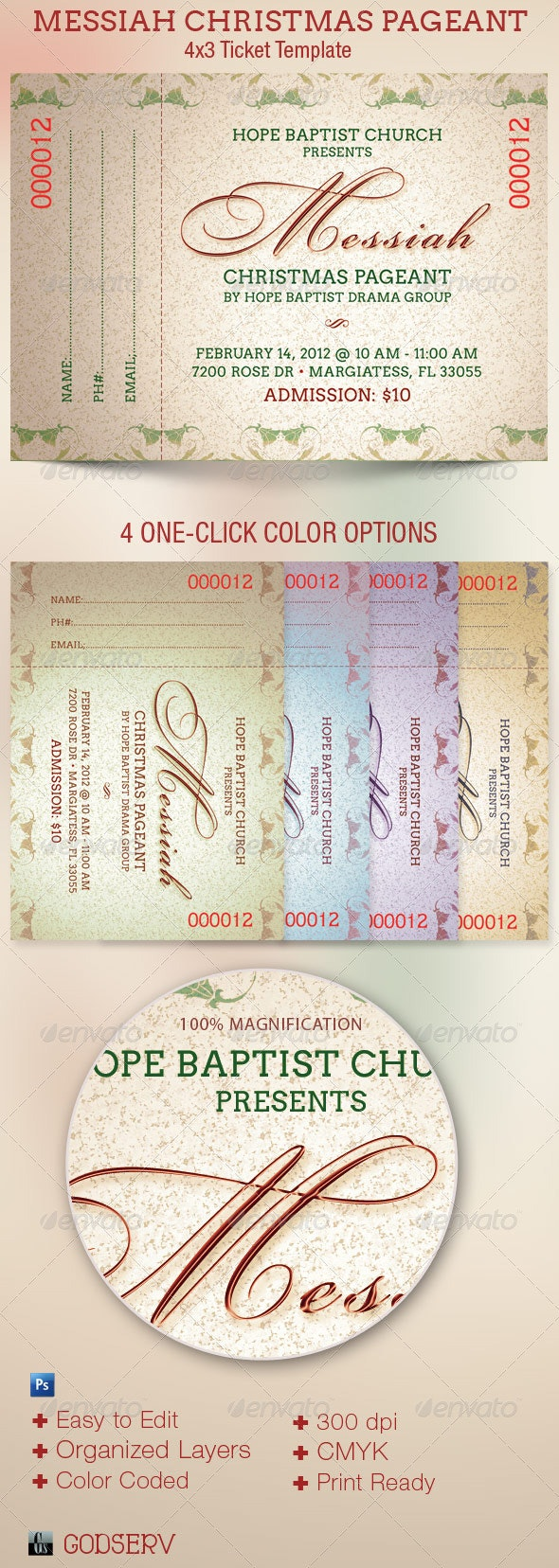 Messiah Christmas Pageant Ticket Template - Miscellaneous Print Templates