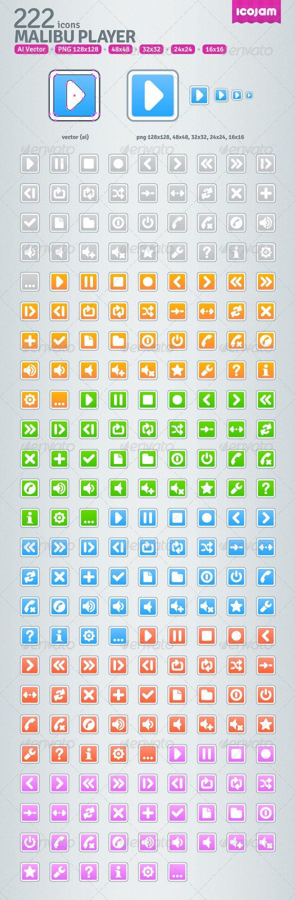 222 AI Malibu Player icons - Media Icons