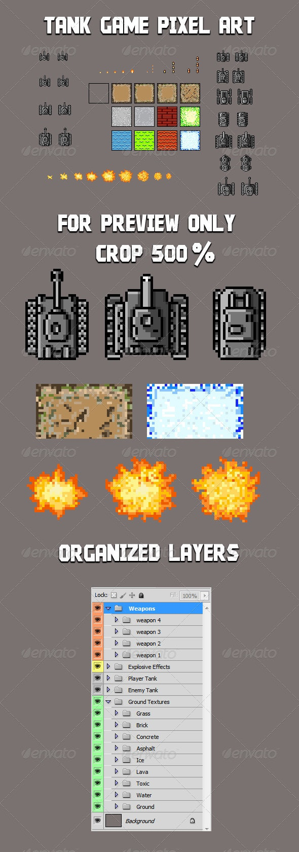 Tank Game - Sprite Template - Sprites Game Assets