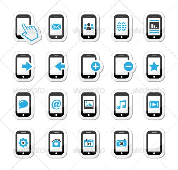 Smartphone / Mobile or Cell Phone Icons Set - Communications Technology