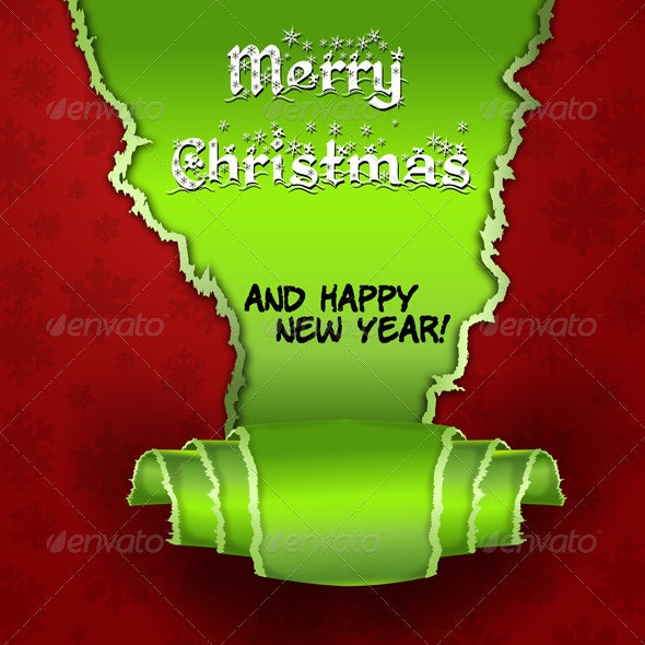 Merry Christmas Inside Torn paper - Christmas Seasons/Holidays