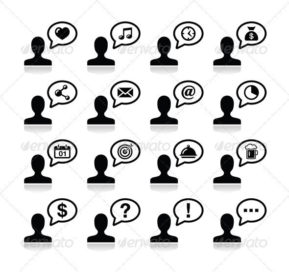 User Communication, Black Icons Set - People Characters