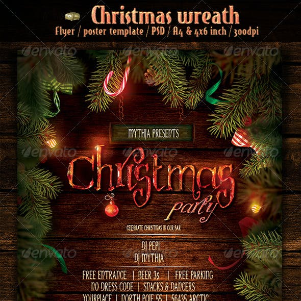Christmas Wreath - Event Flyer/Poster Template