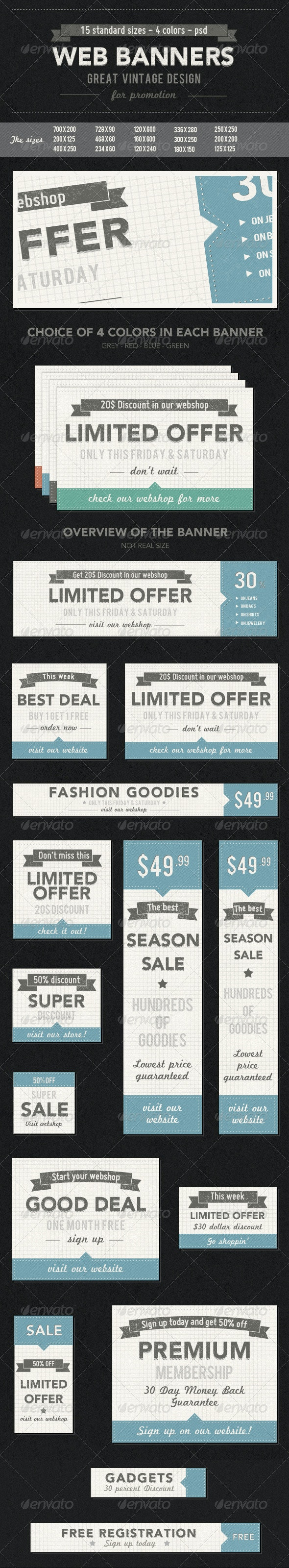 Vintage Web Banners - Banners & Ads Web Elements