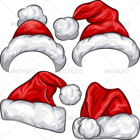 Vector set Red Christmas Santa Claus hats
