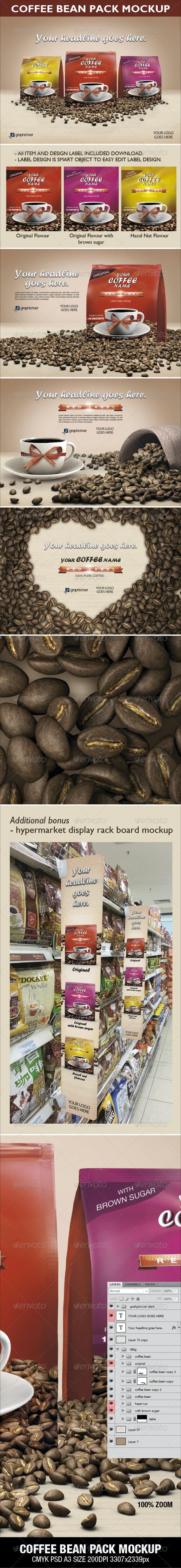 Coffee Bean Pack Mock-up - Food and Drink Packaging