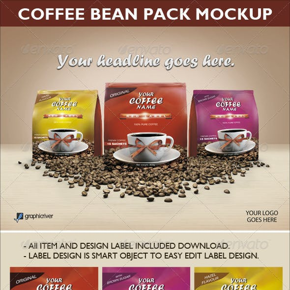 Coffee Bean Pack Mock-up