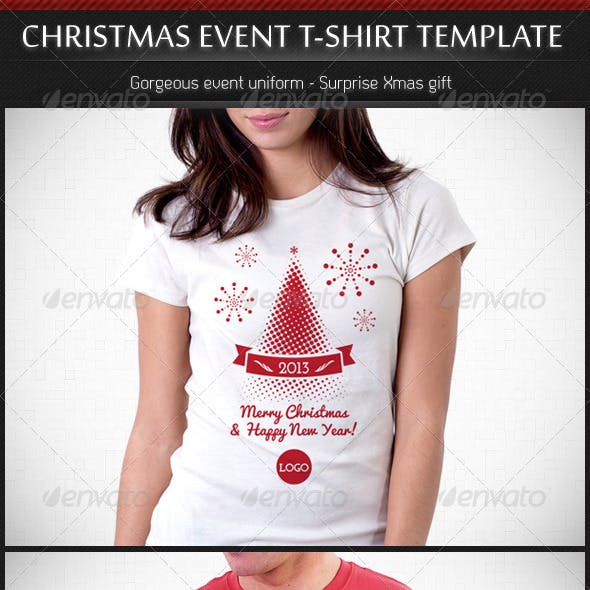 Christmas and New Year Event T-Shirt Template