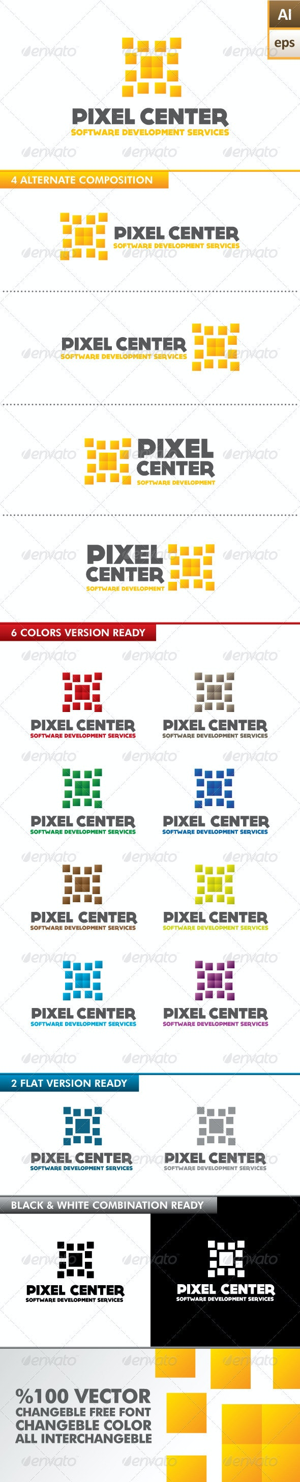Pixel Center Logo - Abstract Logo Templates