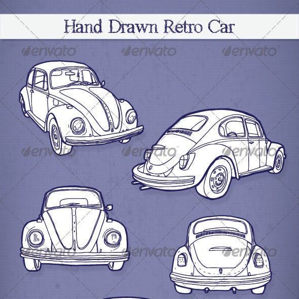 Hand Drawn Retro Car