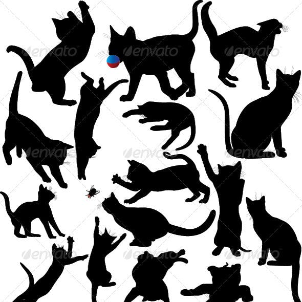 Cat and Kitten Silhouette Set