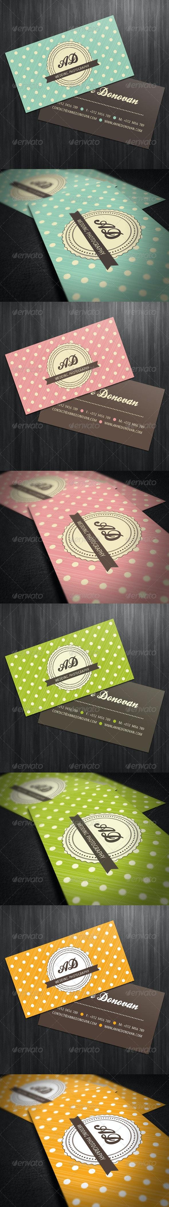Retro Business Card (4 Color Variations) - Retro/Vintage Business Cards
