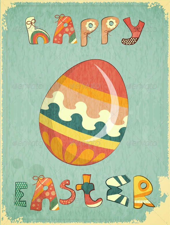 Retro Easter Card - Seasons/Holidays Conceptual