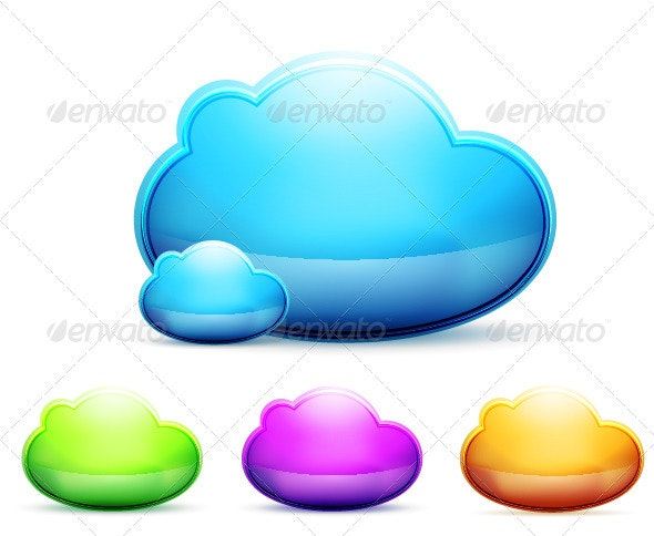 Shiny Vector Clouds - Technology Conceptual