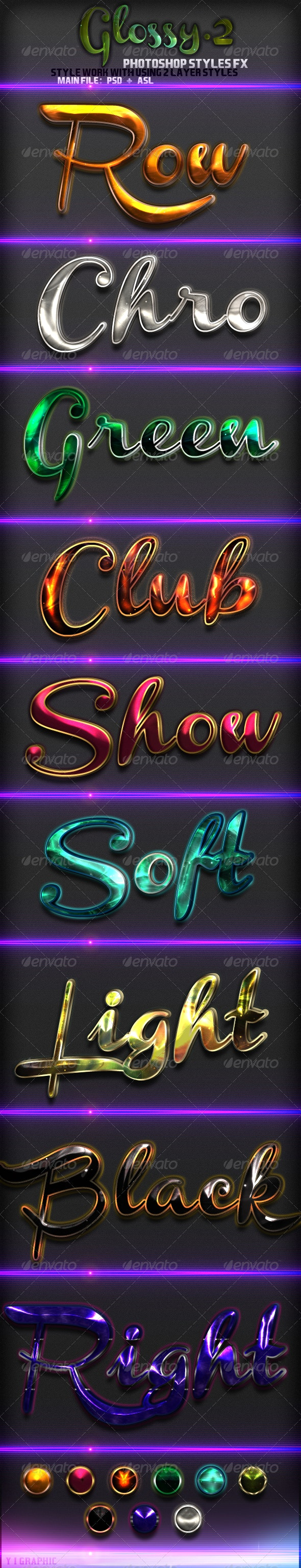 9 Glossy Text Styles - Text Effects Styles