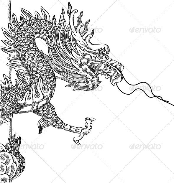 Chinese Style Dragon Statue Vector Sketch - Religion Conceptual