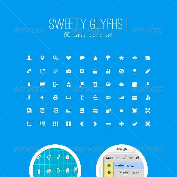 Sweety Glyphs Vol. 1 - 60 Basic Icons Set