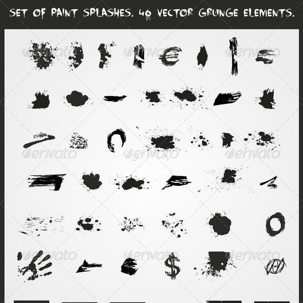 Set of Paint Splashes - 46 Vector Grunge Elements