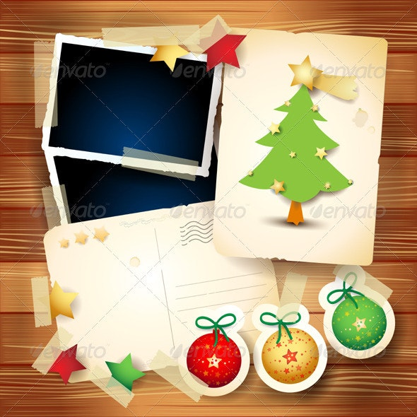 Christmas Card with Paper Elements - Christmas Seasons/Holidays