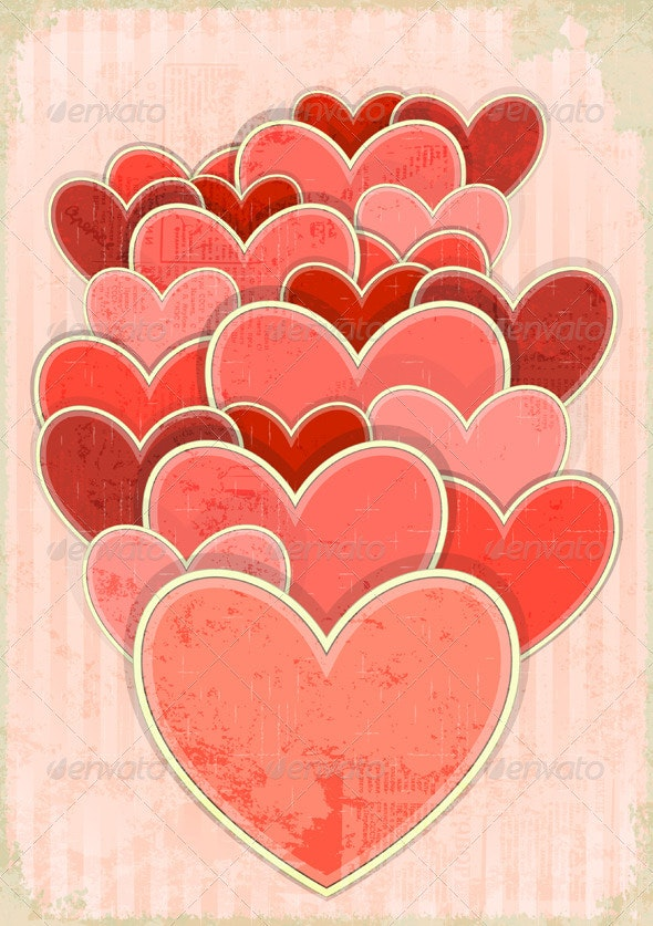 Retro Valentines Day Card with Hearts - Valentines Seasons/Holidays
