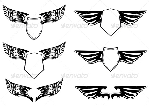 Heraldic Wings with Shields - Tattoos Vectors