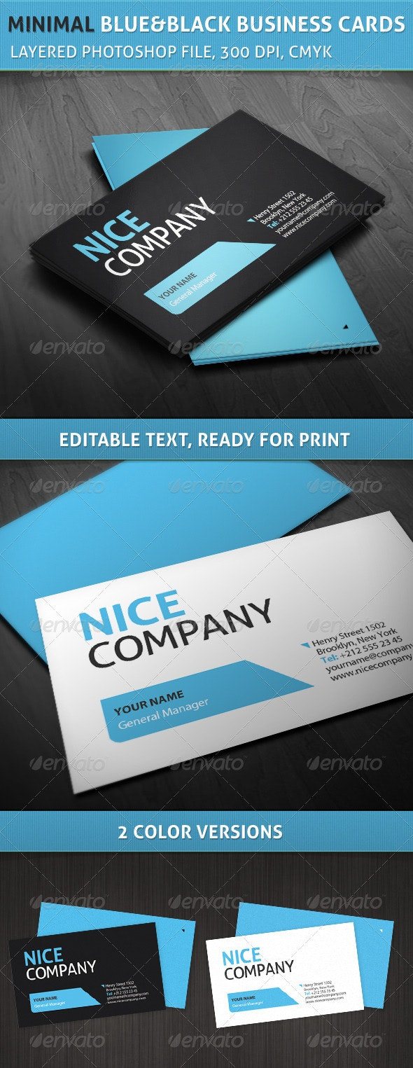 Professional Minimal Blue and Black Business Cards - Corporate Business Cards