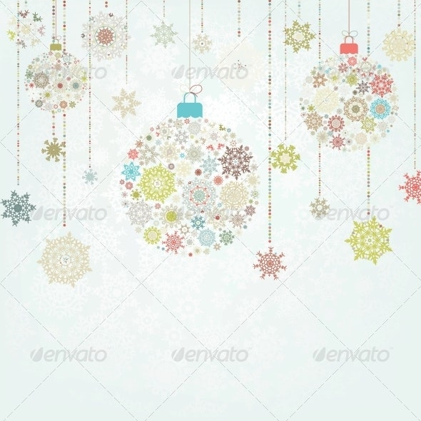 Beige Background with Christmas Balls - Christmas Seasons/Holidays
