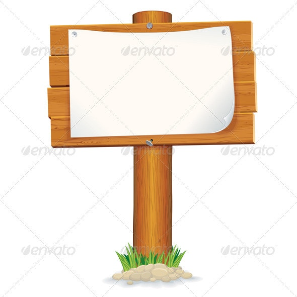 Wooden Sign with Paper Note - Man-made Objects Objects