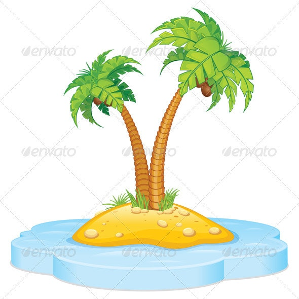 Tropic Island with Coconut Palm - Travel Conceptual