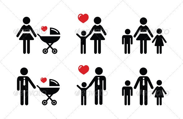 Single Parent Sign - Family Icons - People Characters