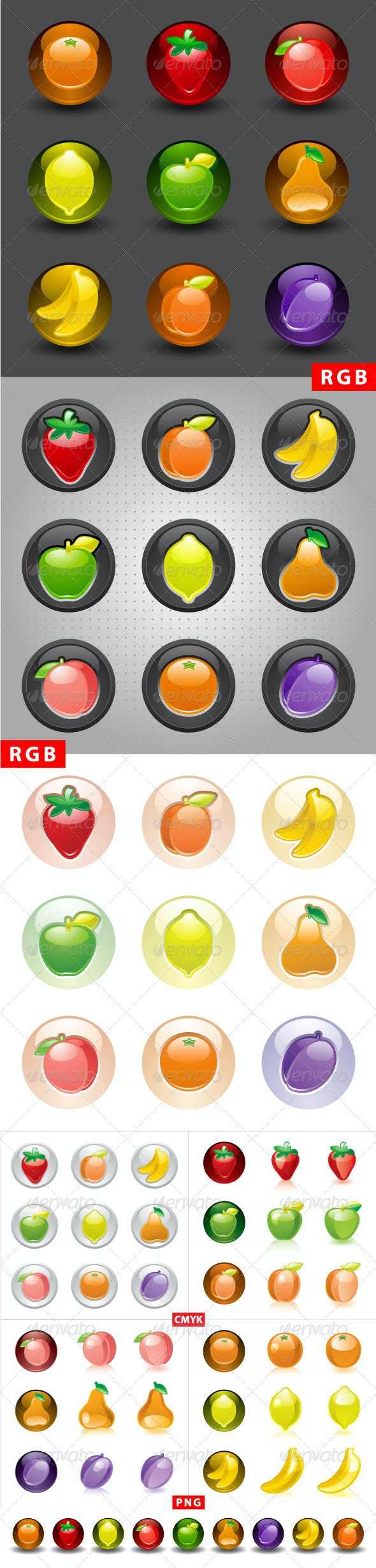 Fruit buttons, web 2.0 icons - Food Objects