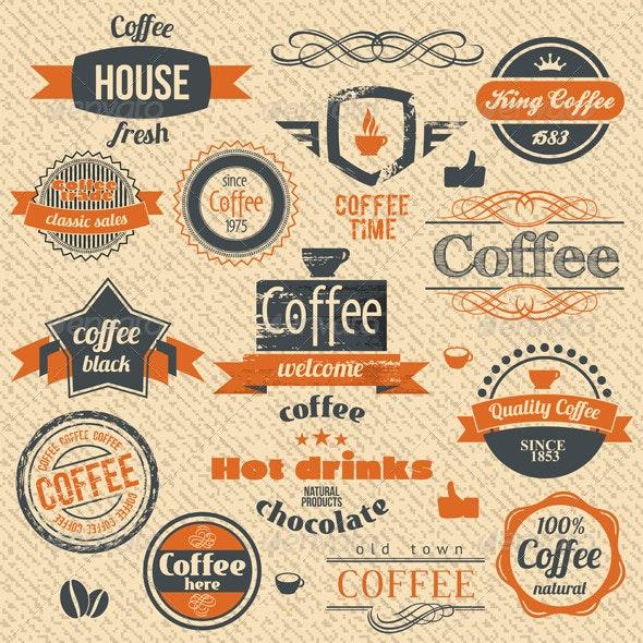 Coffee Stamps and Label Design - Decorative Symbols Decorative