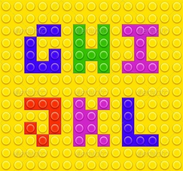 Blocks Alphabet Part 2 - Decorative Vectors