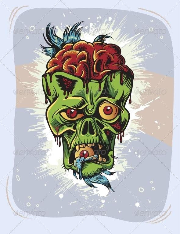 Angry Zombie Character with Eye in it's Mouth - Halloween Seasons/Holidays