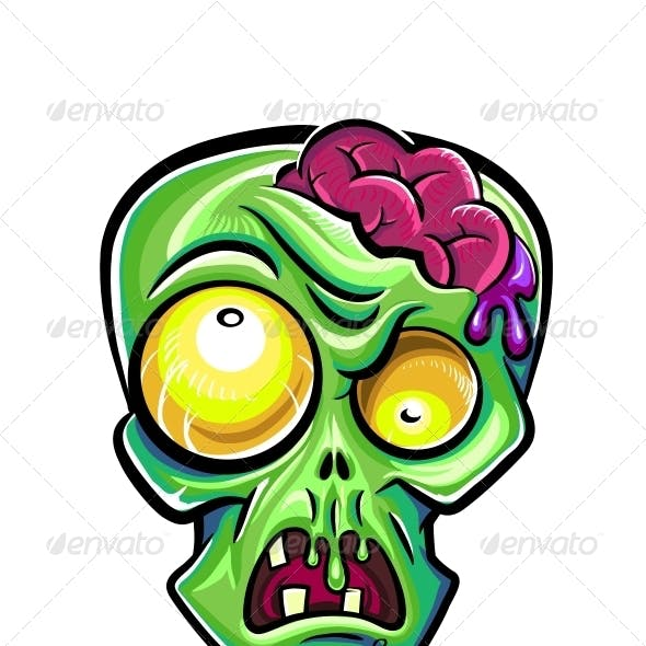 Zombie's Head with Brains