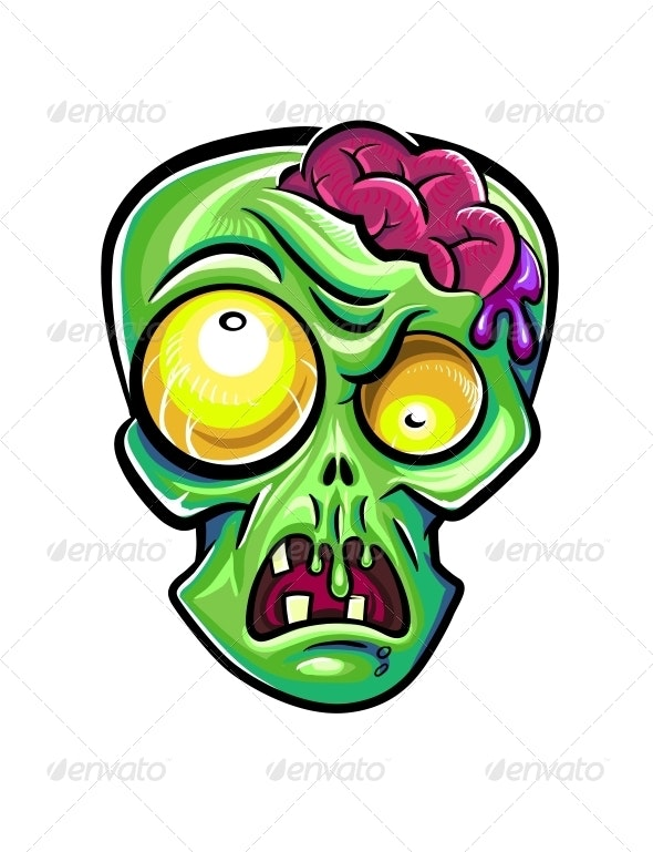 Zombie's Head with Brains - Monsters Characters