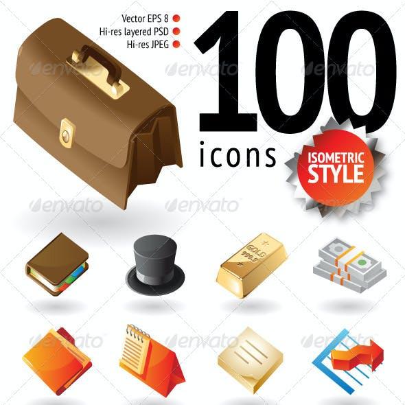 100 Isometric-Style Icons